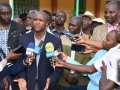 MPs Silas Tiren, Alfred Keter and Joshua Kuttuny address the press after meeting farmers. /COURTESY