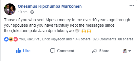 Murkomen's Facebook Post