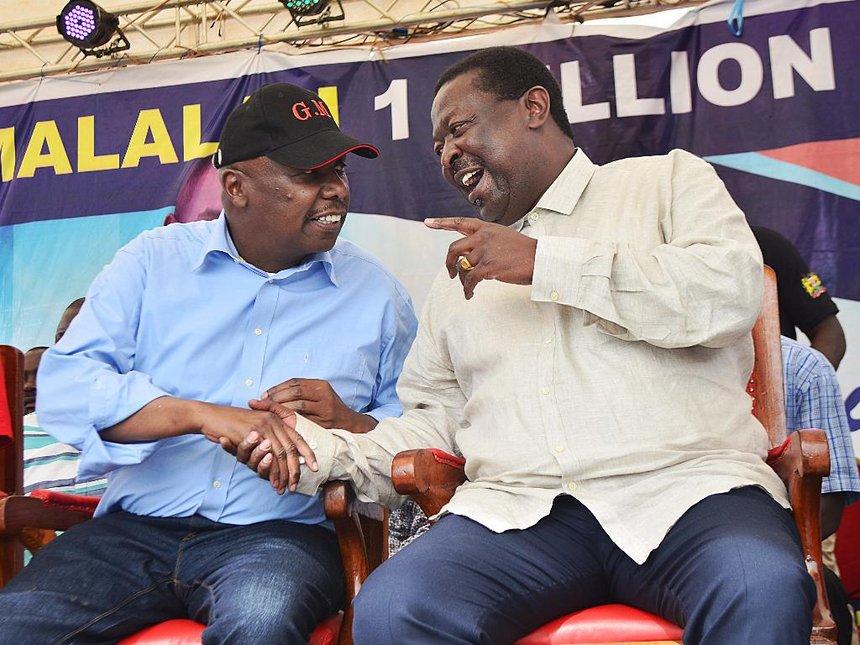 Baringo senator Gideon Moi and ANC leader Musalia Mudavadi in Kakamega on Saturday (courtesy)