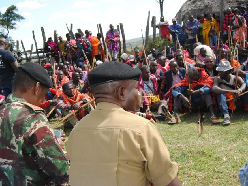 Narok County Commissioner George Natembeya during a peace meeting at Nkoiben area in Narok county on September 6 (courtesy)