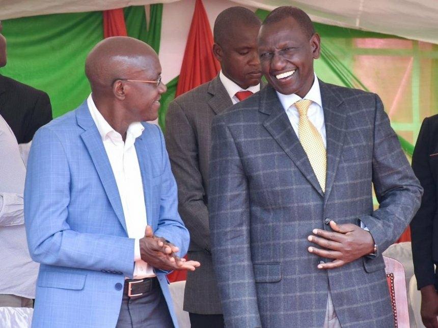 Deputy President William Ruto with former Kakamega Senator Boni Khalwale during an interdenominational church service, Likuyani, Kakamega county,