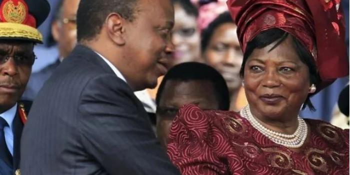 President Uhuru Kenyatta and his Mother former First Lady Ngina Kenyatta (courtesy)