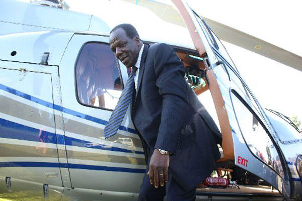 Kakamega Governor Wycliffe Oparanya arriving in a chopper