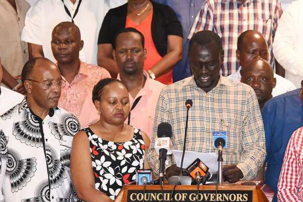 The Council of Governors chairman Josephat Nanok with his counterparts