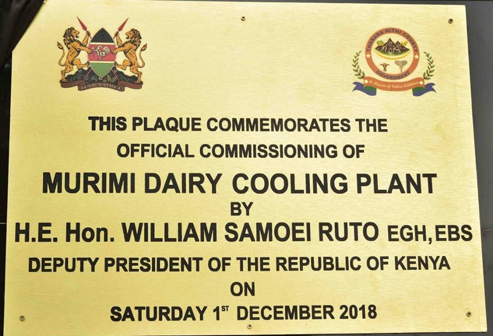 During the commissioning of the 3,000 litre Murimi Dairy Cooling Plant, Rubati, Tharaka Nithi County.