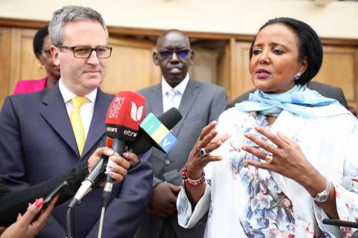 Education Cabinet Secretary Amina Mohamed addressing the press