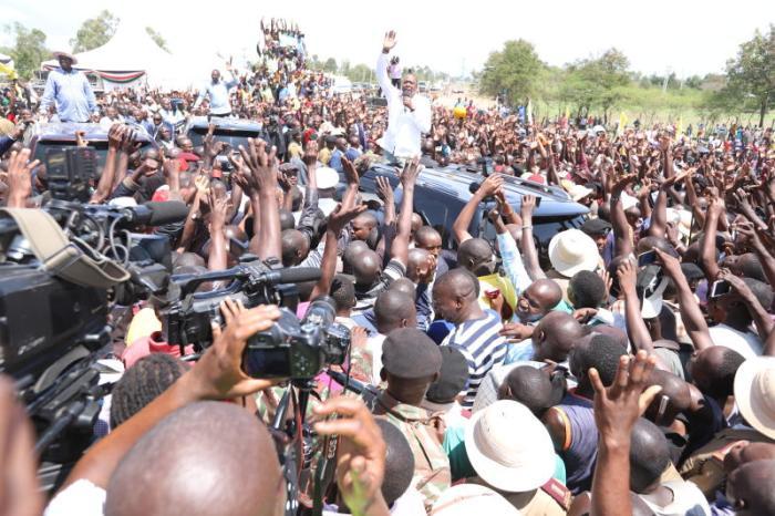 President Uhuru Kenyatta with Opposition leader Raila Odinga in Kisumu. [Collins Oduor/Standard]
