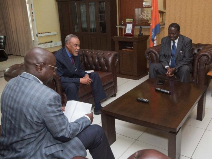 ODM leader Raila Odinga with Building Bridges chair Senator Yusuf Haji and member Adams Oloo during a briefing at Capitol Hill, Nairobi, August 1, 2018. /COURTESY