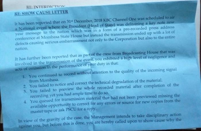 Show-cause letter to the KBC staff in connection with the lip sync hitch