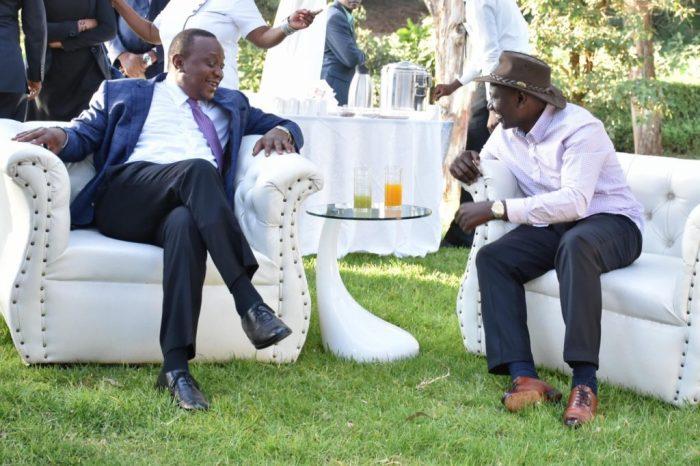 President Uhuru and DP Ruto share a light moment