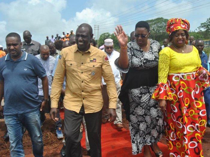 DP William Ruto with Msambweni MP Suleiman Dori and Malindi MP Aisha Jumwa