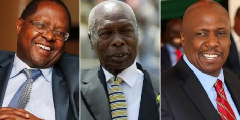 Embu Governor Martin Wambora, Former President Daniel Moi and Baringo Senator Gideon Moi.