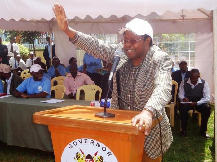 Embu Governor Martin Wambora speaking at a public function.