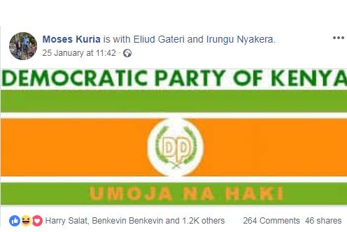 Moses Kuria's Facebook Post