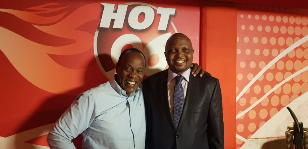 Moses Kuria and Jeff Koinange during the breakfast show on Hot 96