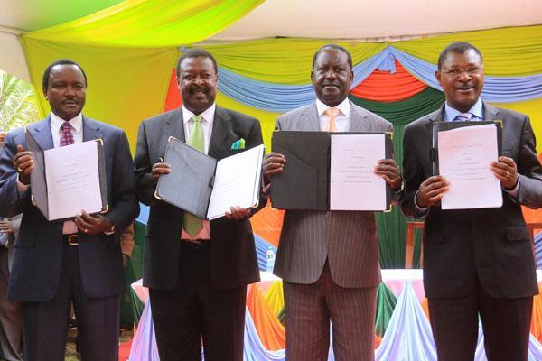 NASA proncipals Kalonzo Musyoka, Musalia Mudavadi, Raila Odinga and Moses Wetangula