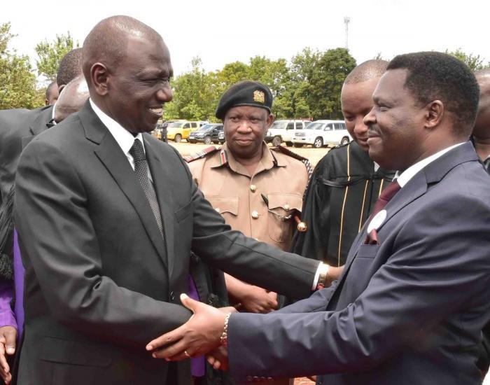 Deputy President William Ruto consoles Tharaka Nithi Governor Muthomi Njuki.