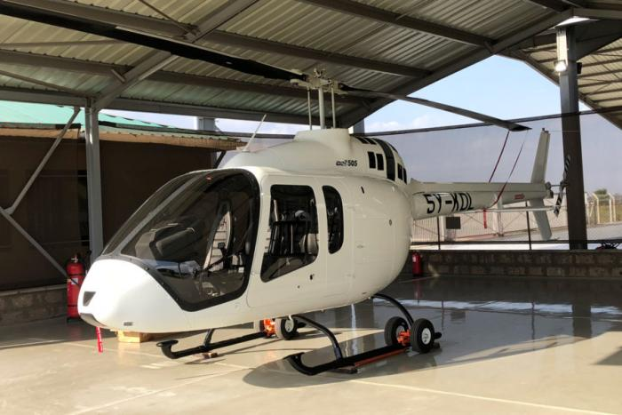 The Bell 505 helicopter, registration 5Y-KDL that crashed in Turkana.