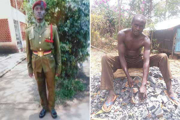 Left: Nicholas Langat during his time as a police officer and Right: Langat pictured crushing stones in quarry.
