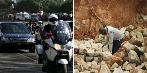 An outrider in a presidential escort (Left) and a man in a quarry (Right)
