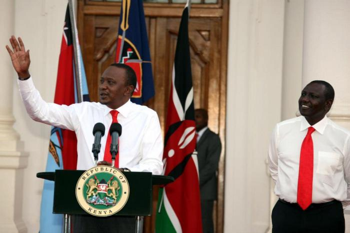 President Uhuru Kenyatta and Deputy President William Ruto during the unveiling of their first Cabinet in 2013